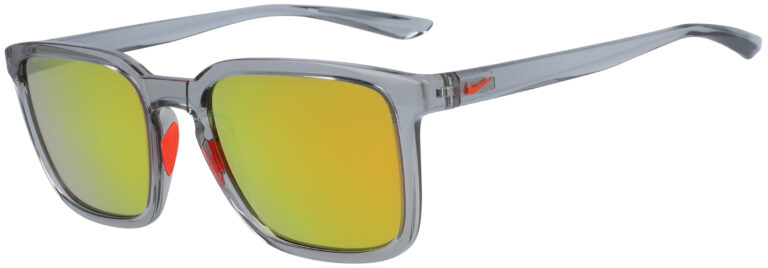 Nike Circuit in Wolf Grey Frame with Orange Mirror Lens, Angled to the Side Left