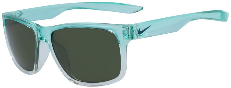 Nike Essential Chaser Sunglasses in Aurora Green Fade to Clear Frame with Green Lens, Angled to the Side Left