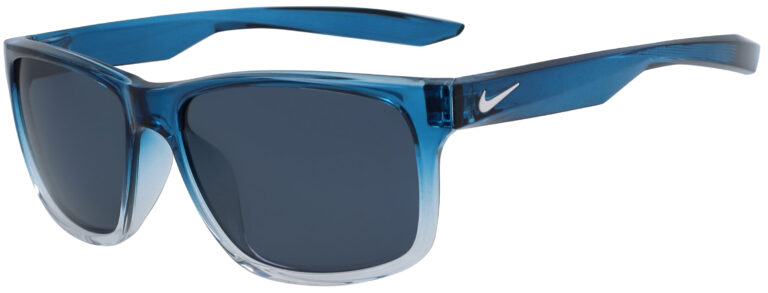 Nike Essential Chaser Sunglasses in Blue Force Fade to Clear Frame with Blue Lens, Angled to the Side Left
