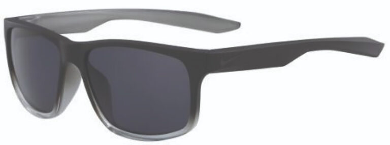 Nike Essential Chaser Sunglasses in Matte Black to Clear Frame with Dark Grey Lens, Angled to the Side Left