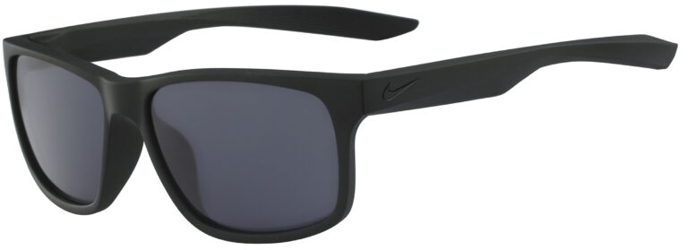Nike Essential Chaser Sunglasses in Matte Black Frame with Dark Grey Lens, Angled to the Side Left