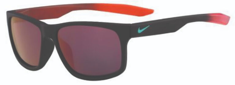 Nike Essential Chaser Sunglasses in Matte Black Hyper Crimson Frame with Gray Amber Lens, Angled to the Side Left