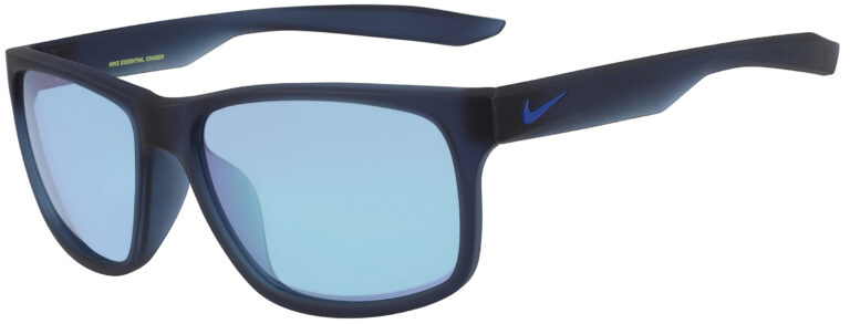 Nike Essential Chaser Sunglasses in Matte Midnight Navy Frame with Dichro Blue Mirror Lens, Angled to the Side Left