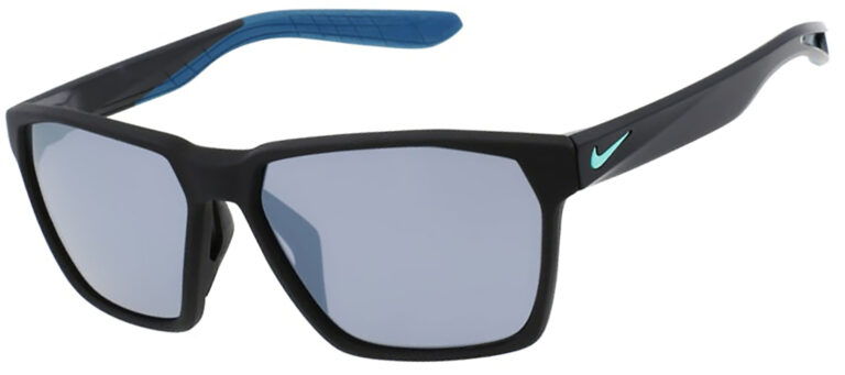 Nike Maverick Matte Black Frame with silver flash lens, Angled to the Side Left