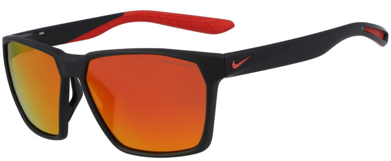 Nike Maverick in Matte Black Polargrey Frame with Red Mirror Lens, Angled Side Left