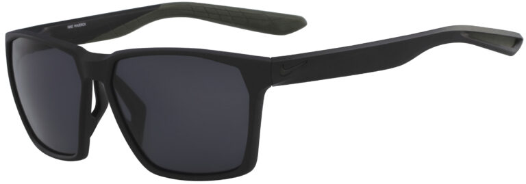 Nike Maverick Sunglasses in Matte Black Frame with Grey Lens, Angled to the Side Left