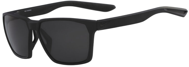 Nike Maverick Sunglasses in Matte Black Frame with Polarized Grey Lens, Angled to the Side Left