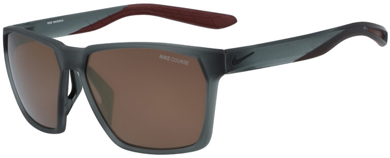 Nike Maverick Sunglasses in Matte Cool Grey Frame with Course Bronze Flash Lens, Angled to the Side Left