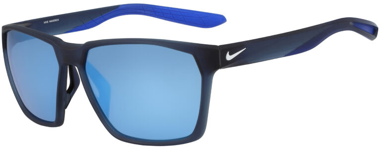 Nike Maverick Sunglasses in Matte Midnight Navy Frame with Frozen Blue Mirror Lens, Angled to the Side Left