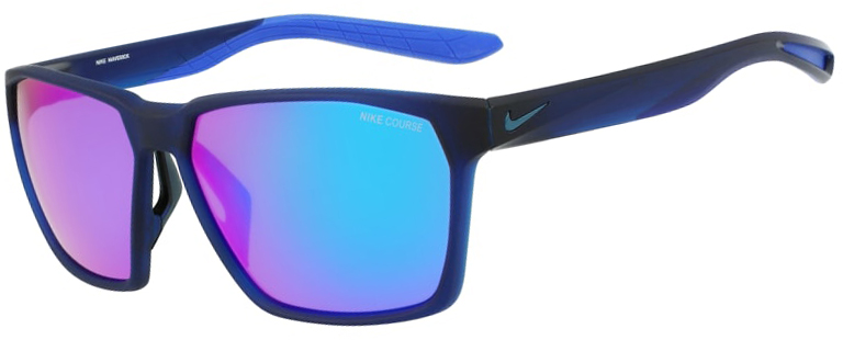Nike Maverick Sunglasses in Matte Obsidian Space Blue Frame with Turquoise Mirror Lens, Angled to the Side Left