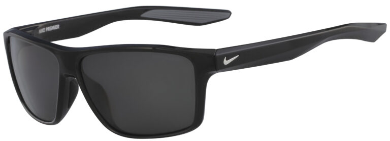 Nike Premier Sunglasses in Black Frame with Grey Polarized Lens, Angled to the Side Left