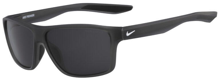 Nike Premier Sunglasses in Matte Anthracite Frame with Dark Grey Lens, Angled to the Side Left