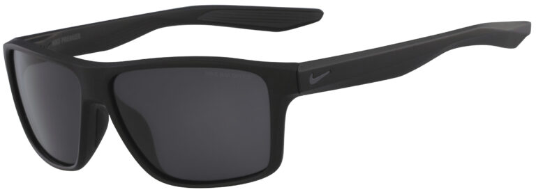Nike Premier Sunglasses in Matte Black Frame with Dark Grey Lens, Angled to the side Left