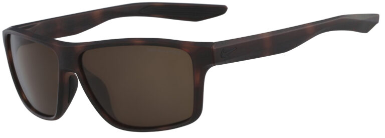 Nike Premier Sunglasses in Matte Tortoise Frame with Dark Brown Lens, Angled to the Side Left