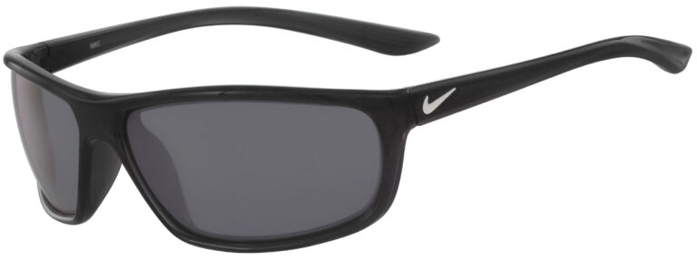 Nike Rabid Sunglasses in Anthracite Frame with Grey Silver Mirror Lens, Angled to the Side Left