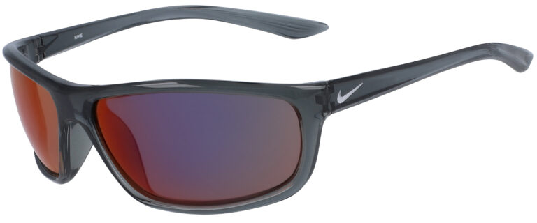 Nike Rabid Sunglasses in Dark Grey Pure Platinum Frame with Field Tint Lens, Angled to the Side Left