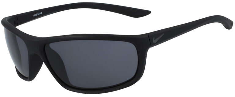 Nike Rabid Sunglasses in Matte Black Frame with Dark Grey Lens, Angled to the Side Left