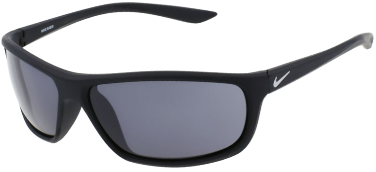 Nike Rabid Sunglasses in Matte Black and Silver Frame with Dark Gray Lens, Angled to the Left