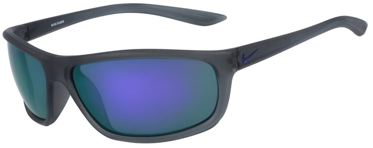 Nike Rabid Sunglasses in Matte Dark Grey Court Purple Frame with Grey Violet Mirror Lens, Angled to the Side Left