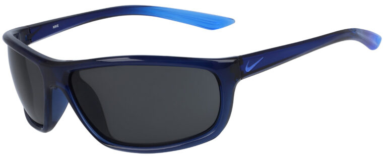 Nike Rabid Sunglasses in Matte Midnight Navy Pacific Blue Frame with Dark Grey Lens, Angled to the side Left
