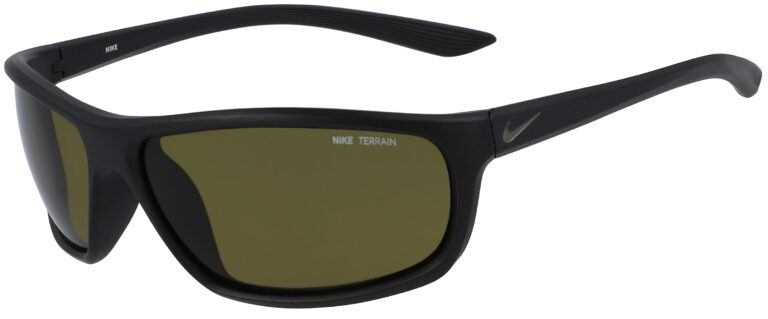 Nike Rabid Sunglasses in Matte Black Medium Olive Frame with Terrain Tint Lens, Angled to the Side Left