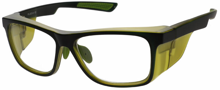 RX 15011 Prescription Safety Glasses in Black/Green Frame with Clear Lens, Angled to the Side Left