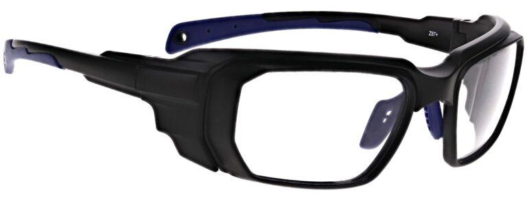 Prescription Wraparound Safety Glasses in Model RX-16001-BKBL in Black/Blue