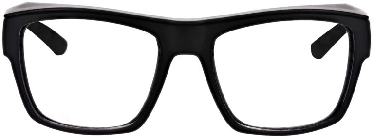 Model Torque RX-X25 Safety Reading Glasses, in Black Frame, Clear Lenses, Angled to the Front