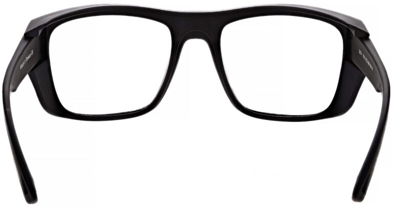 Model Torque RX-X25 Safety Reading Glasses, in Black Frame, Clear Lenses, Angled to the Rear