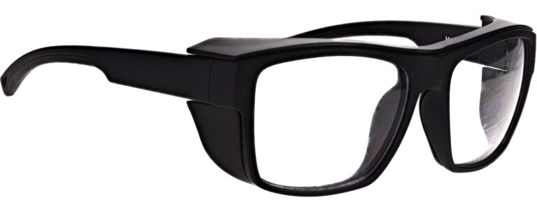 Model Torque RX-X25 Safety Reading Glasses, in Black Frame, Clear Lenses, Angled to the Right Side