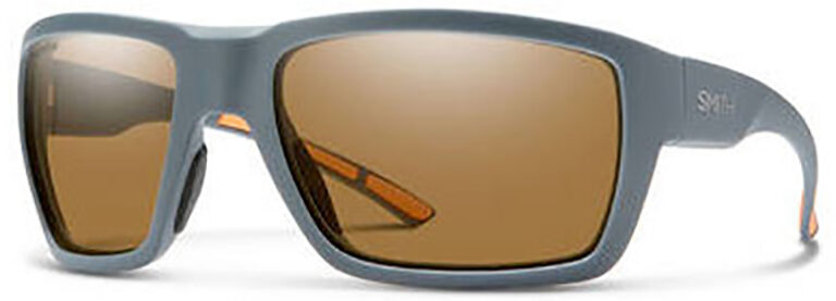 Smith Optics Highwater Sunglasses in Matte Blue Frame with Brown Chromapop PZ Lens, Angled to the Side Left