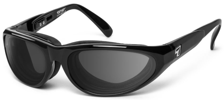 7 Eye Diablo Glossy Black Gray Lenses Prescription Sunglasses RX Safety
