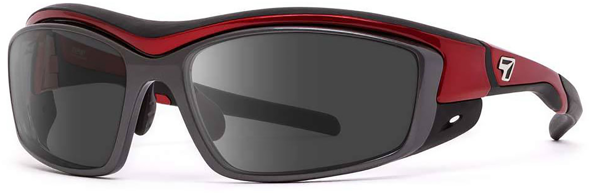 7Eye Rocker in Candy Apple Red Frame with Polarized Gray Lenses, Angled to the Side Left