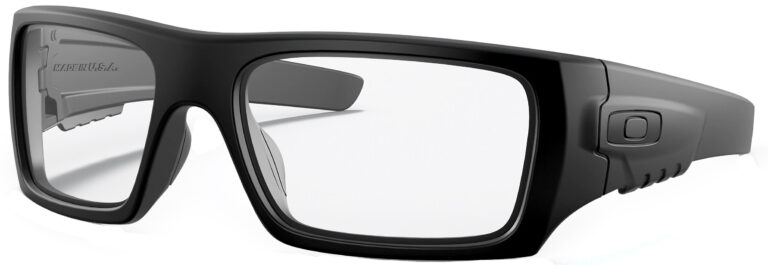 OAKLEY STANDARD ISSUE DET CORD™ INDUSTRIAL in Matte Black Frame with Clear Lens, Angled to the Side Left