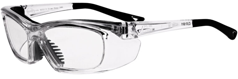 OnGuard 220S Prescription Safety Glasses in Clear Frame, Angled to the Side Left