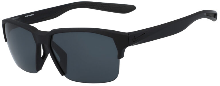 Nike Maverick Free Sunglasses in Matte Black Frame with Dark Grey Lens, Angled to the Side Left