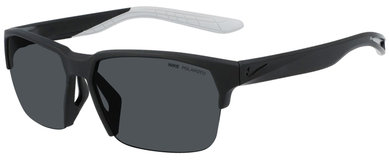 Nike Maverick Free Sunglasses in Matte Black Frame with Polarized Gray Lens Angled to the Side Left