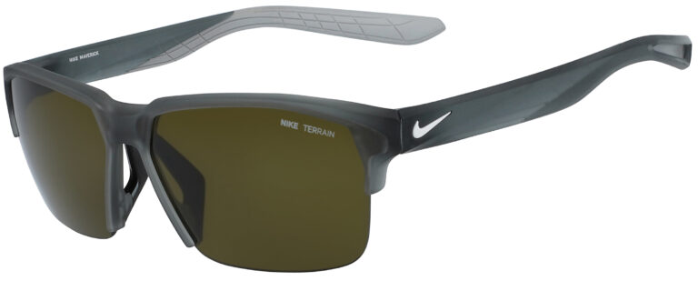 Nike Maverick Free Sunglasses in Matte Cool Grey Frame with Green Lens, Angled to the Side Left