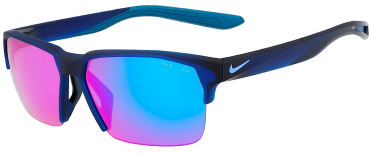 Nike Maverick Free Sunglasses in Matte Obsidian Frame with Course Tint and Turquoise Mirror Lens Angled to the Side Left