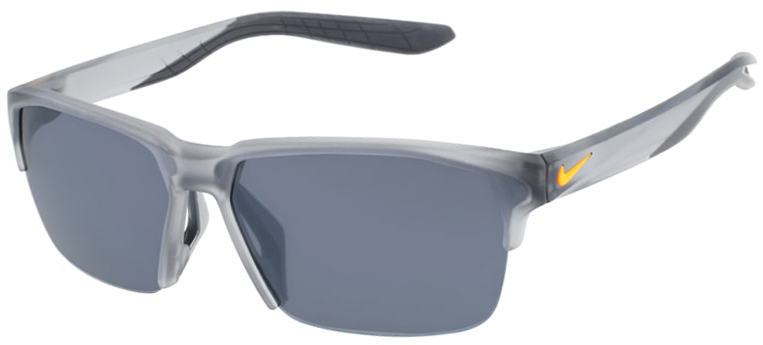 Nike Maverick Free Sunglasses in Matte Wolf Gray Frame with Silver Flash Lens Angled to the Side Left