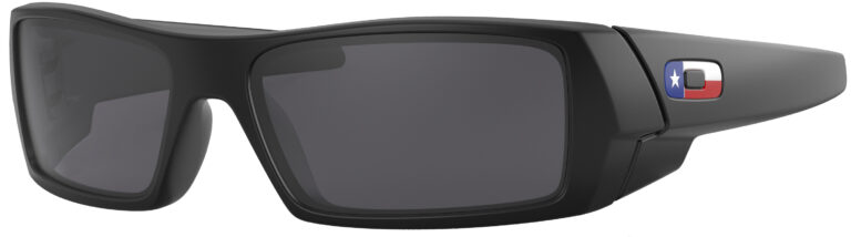 Oakley Standart Issue Gascan USA Flag Collection in a Matte Black Frame with Black Iridium Lens, Angled to the Left Side