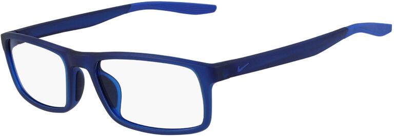 Nike 7119 401 Matte Midnight Navy Racer Blue Frame Matte Midnight Navy Racer Blue Lens Angled Side Left