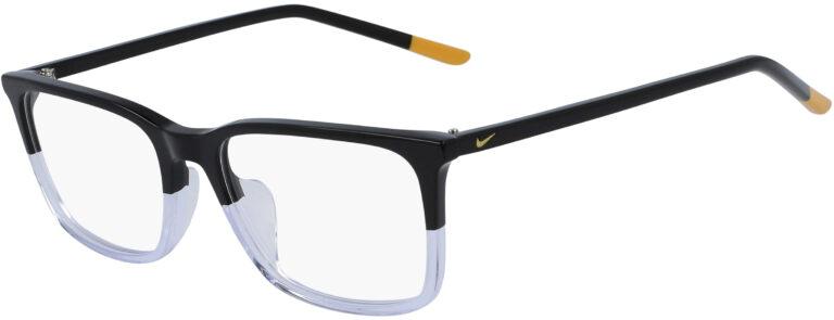 Nike 7254 012 Black Clear Frame Black Clear Lens Angled Side Left
