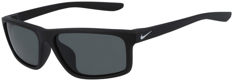 Nike Chronicle Sunglasses in Matte Black Frame with Polarized Grey Lens, Angled to the Side Left