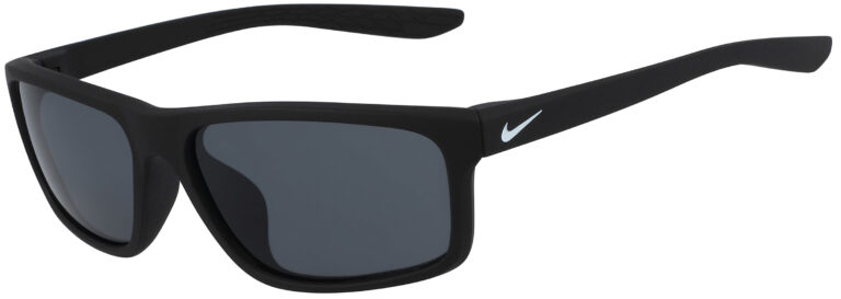 Nike Chronicle Sunglasses in Matte Black Frame with Dark Grey Lens, Angled to the Side Left