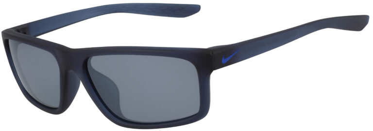 Nike Chronicle Sunglasses in Matte Midnight Navy Frame in Silver Flash Lens, Angled to the Side Left