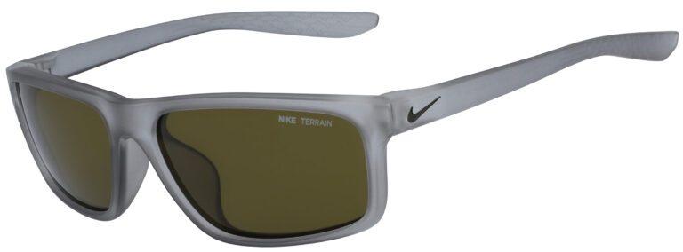 Nike Chronicle Sunglasses in Matte Wolf Grey Frame with Green Lens, Angled to the Side Left