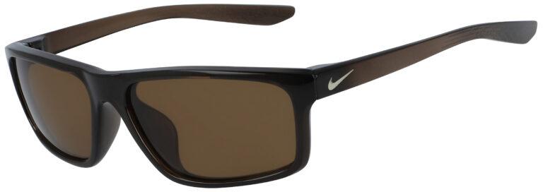 Nike Chronicle Sunglasses in Velvet Brown Frame with Dark Brown Lens, Angled to the Side Left