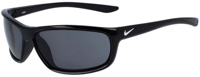 Nike Dash in Black Frame with Dark Grey Lens, Angled to the Left Side