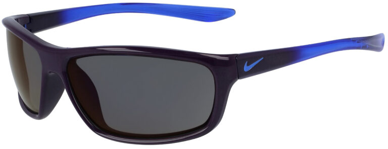 Nike Dash in Grand Purple Frame with Violet Mirror Lens, Angled to the Left Side